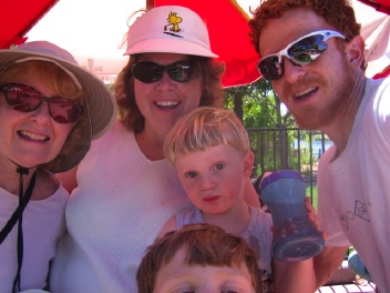 Trutanes with Grandma Judy in Discovery Kingdom               Vallejo CA, July 2007